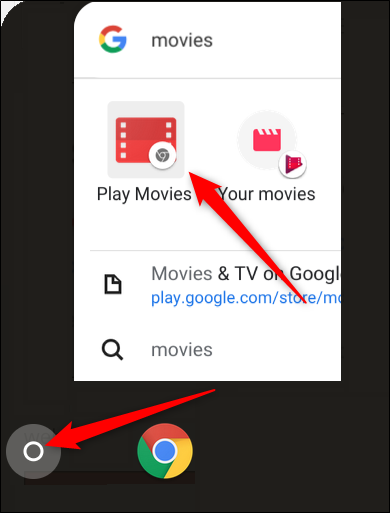 Click the launcher, start typing Movies, then click the Play Movies Chrome app, it's the one with the grey Chrome icon in the bottom right corner