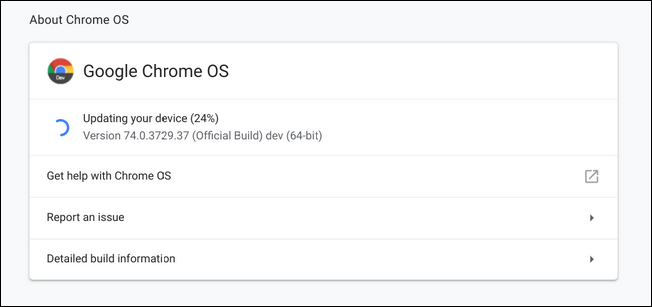 Chrome OS update window
