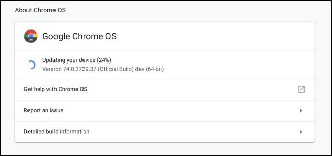 Chrome OS update window