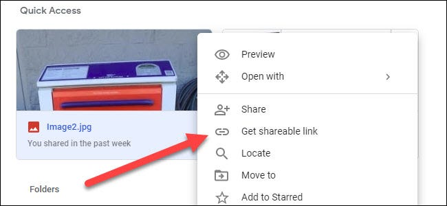 Google Drive submenu showing the get shareable link option.