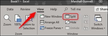 Split screen in View tab