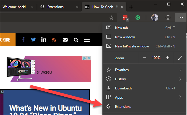 Edge settings menu with arrow pointing to extensions option.