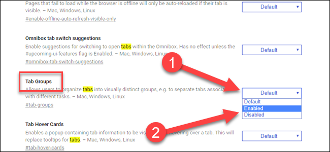 Edge Flag for Tab Groupse, with arrow pointing to dropdown and enabled