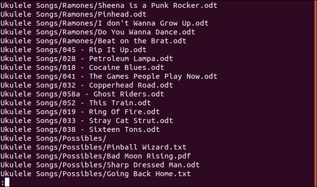 Second view of contents of tar file piped through less