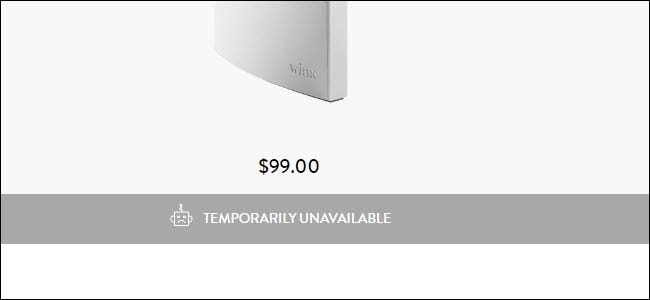Wink Hub 2 website showing Temporarily Unavailable
