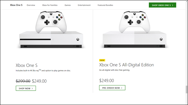 Xbox One S pricing at $250 versus Xbox One S All-Digital Pricing at $250
