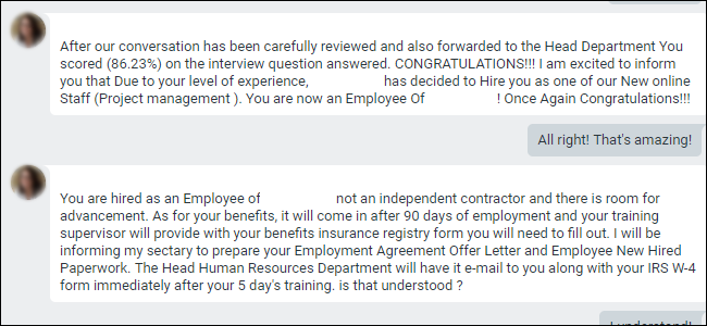"""Google Hangouts stating employee has been """"hired"""" for scam."""