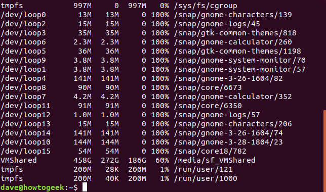 Output from df command with -h option