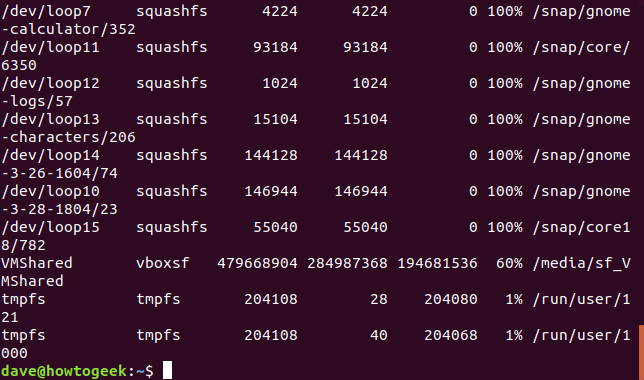 Output from df command with -T option