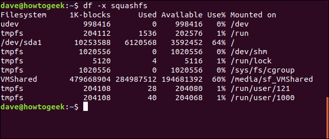 Output from df command with df -x squashfs options