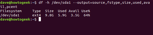 Output from df command with df -h /dev/sda1 --output=source,fstype,size,used,avail,pcent options