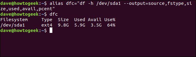 "Creating alias with command alias dfc=""df -h /dev/sda1 --output=source,fstype,size,used,avail,pcent"""