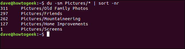 Output of the du command with the -sm Pictures/* ! sort -nr options