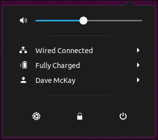 System menu on Ubuntu 19.04