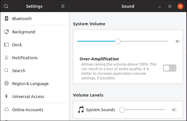 Sound settings on Ubuntu 19.04 Disco Dingo
