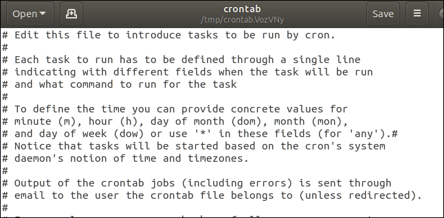 cron table in gedit
