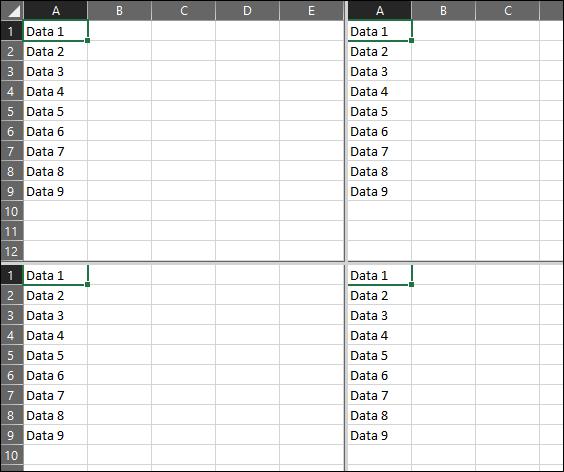 four equal screens Excel