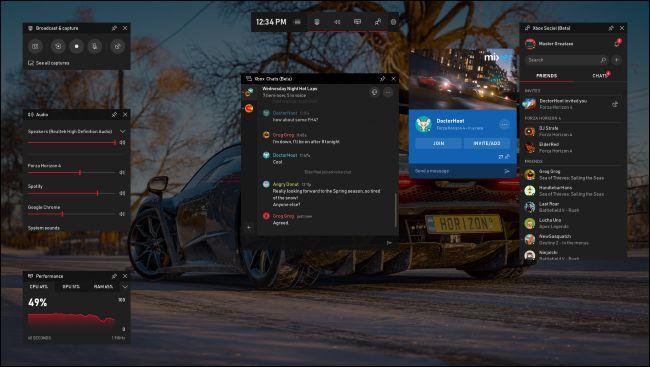 New game bar featuring Xbox social widget