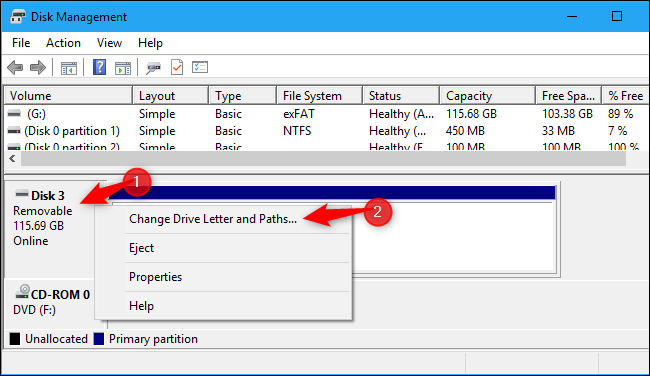 Opening a disk device's properties in Windows 10
