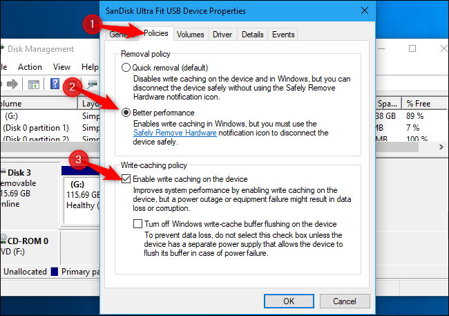 Enabling write caching for external storage on Windows 10