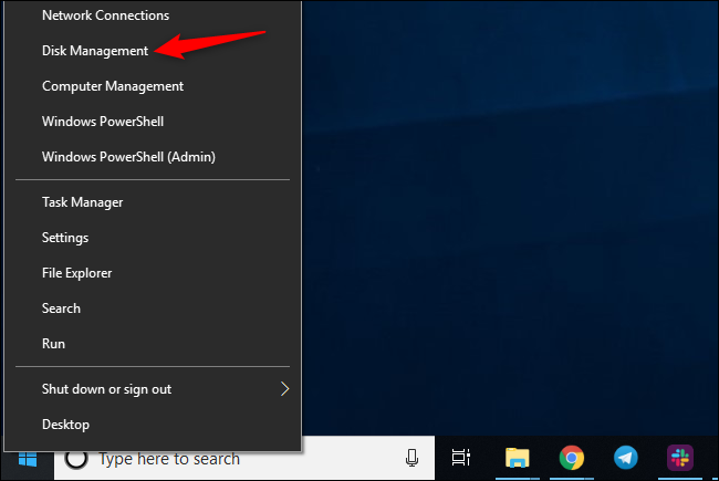 Launching Disk Management on Windows 10