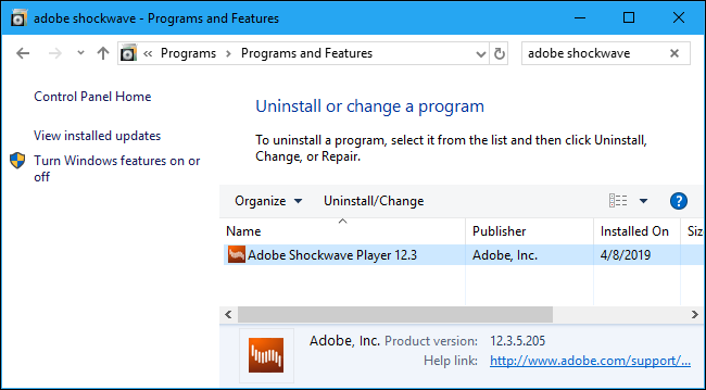 Uninstalling Adobe Shockwave Player in the Control Panel