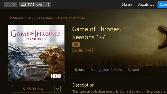Game of Thrones for sale on Apple iTunes