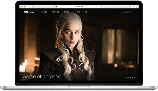 Game of Thrones streaming on a laptop