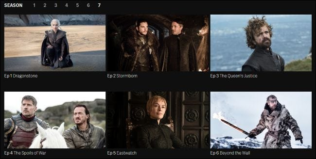 Game of Thrones episodes for streaming on HBO's website