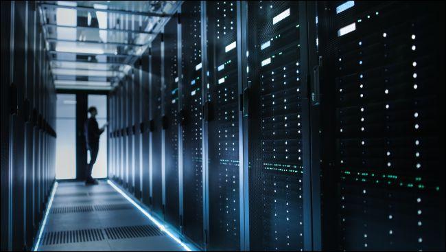 Technician in a server room