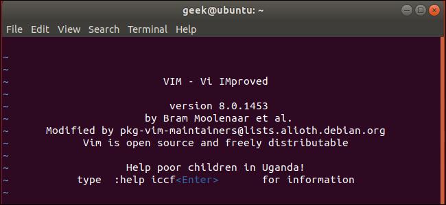 vi editor on Ubuntu Linux