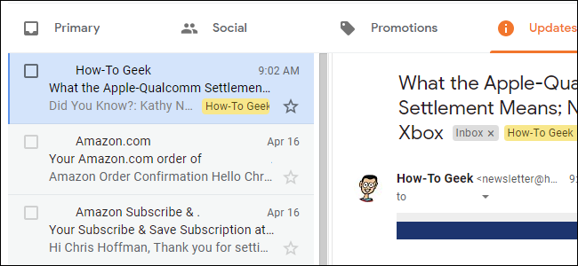 Dual-pane view in Gmail on the web