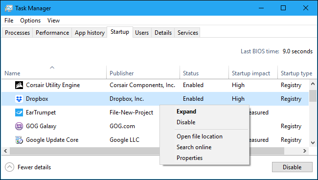 Disabling a startup application in Windows 10's Task Manager