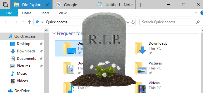 Sets tabs in a File Explorer window with a gravestone