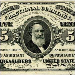 An 1866 5-cent note featuring Spencer M. Clark's face