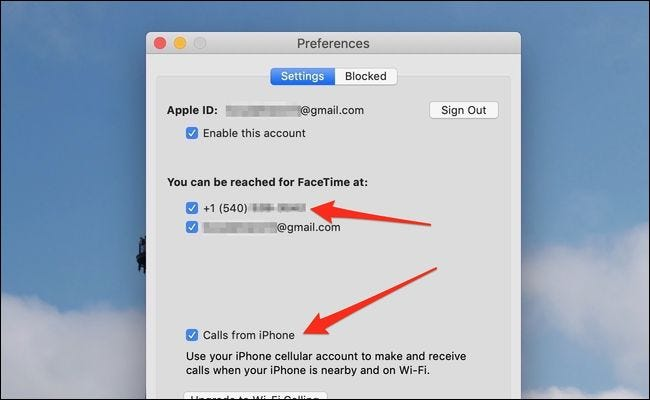 macos calls from iphone