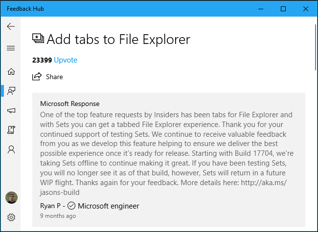 Add tabs to File Explorer in Windows 10 Feedback