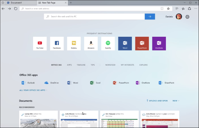 Sets on Windows 10 showing Edge's new tab page with a Bing search box
