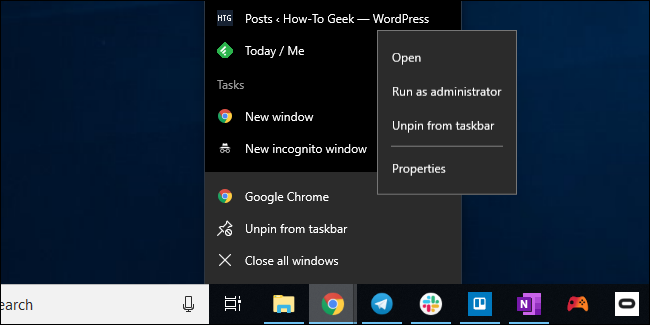 Opening Chrome's taskbar shortcut properties window on Windows 10