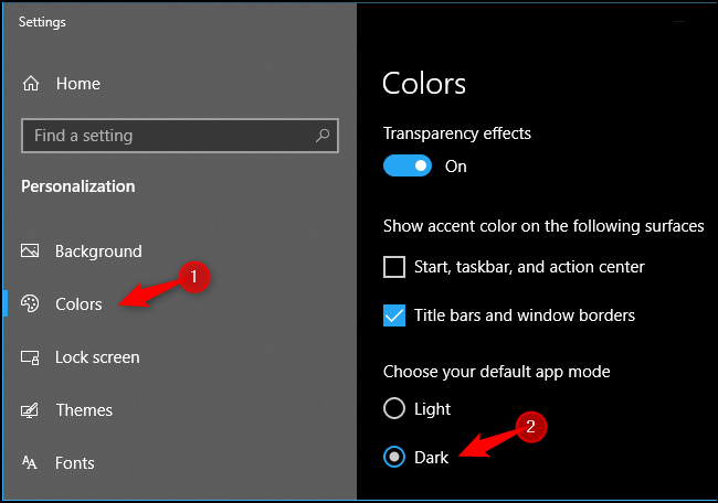 Enabling system-wide dark app mode on Windows 10