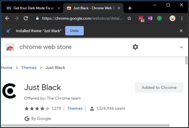 Just Black theme for Chrome