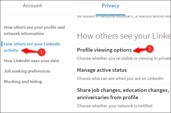 LinkedIn profile viewing privacy options