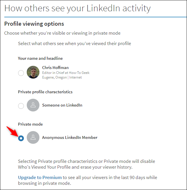 Option to stop LinkedIn from sharing your name with someone when you view their profile