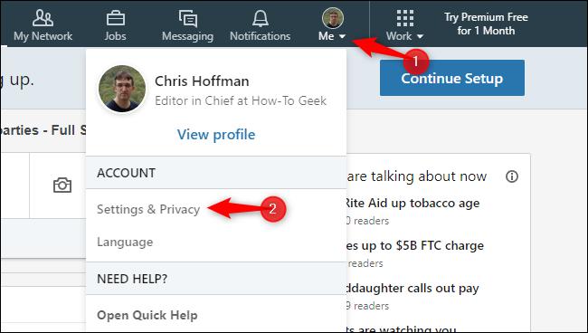 Opening LinkedIn settings