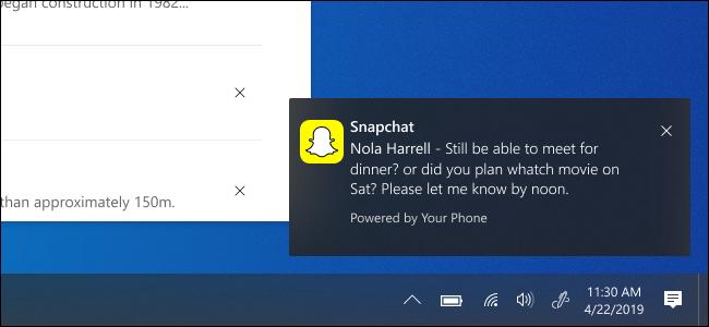 Windows 10 muestra una notificación de Snapchat desde Android