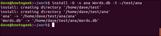Install command to /test/ana