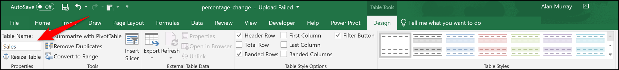 Name the Table in Excel