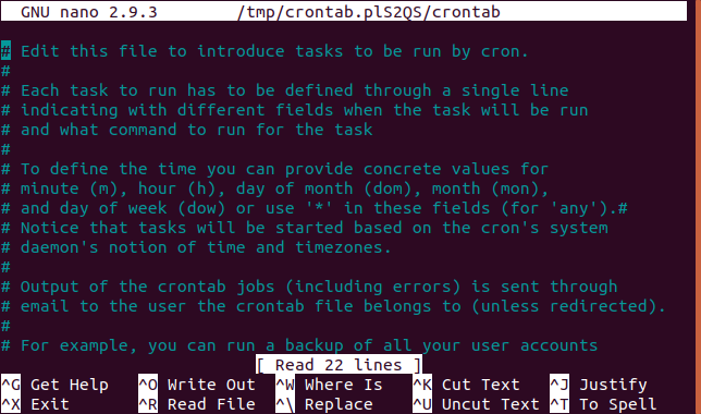 cron table in nano editor