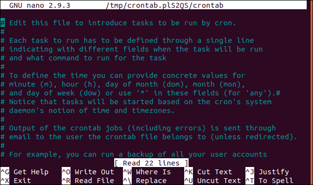 cron table in nano editor