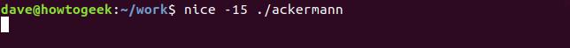 nice 15 command in terminal window